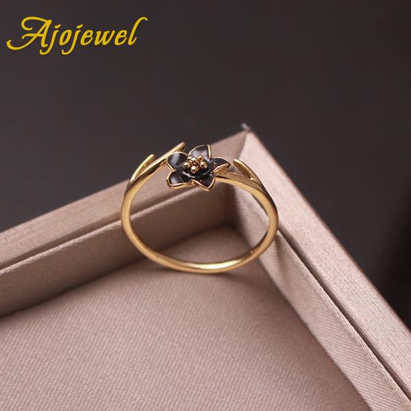 Ajojewel Size 7 Little Thin Ring Enamel Black Flower Adjustable Ladies Rings For Girls Women Golden Jewelry Bague