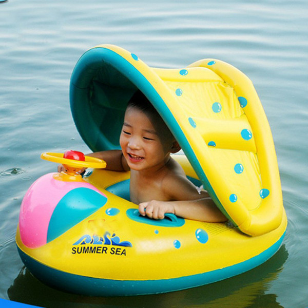 Inflatable Baby Swimming Safe Ring Infant Swimming Pool Float Adjustable Sunshade Seat Baby Bathing Circle Inflatable Wheel Pool Toy