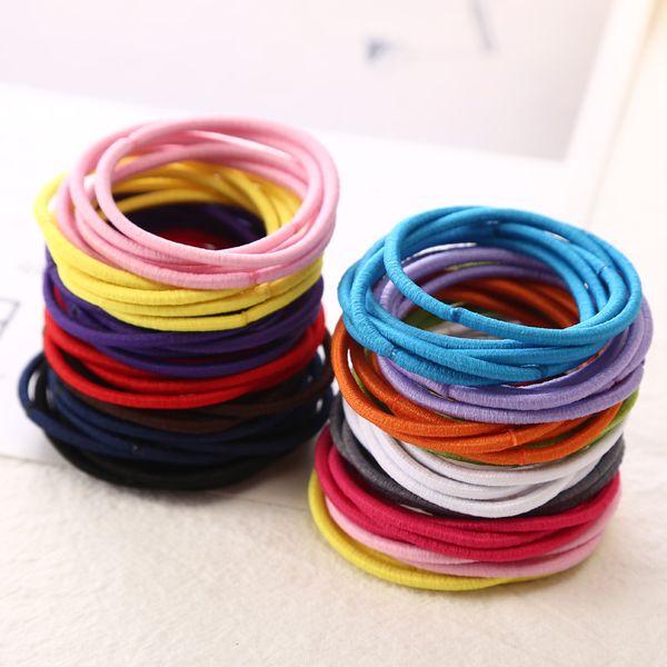 Aikelina 50pcs/bag 4.5CM Hair Holder Rubber Bands Hair Elastic side bands Accessories Women For Girl Charm Tie Gum Headwear