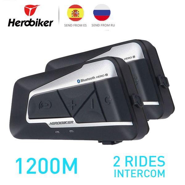 HEROBIKER Motorrad Bluetooth Intercom Motorrad Helm Intercom Headset Wasserdichtes kabelloses Headset Interphone 2 Set