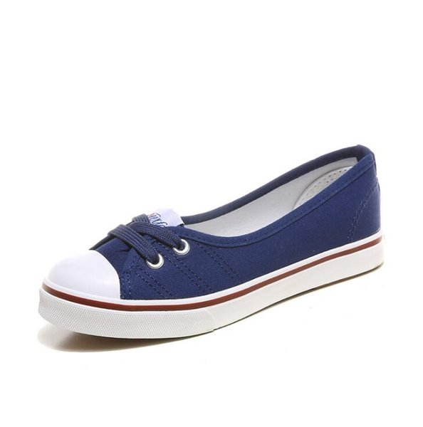 2019 Summer shallow canvas large size Korean version of leisure lazy shoes flat bottom of a foot pedal foreign trade shoes