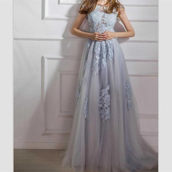 2019 Vestidos de noche sencillos con cordones de color gris azulado Gorro Mangas Barridos Tallas grandes Vestidos de baile con lentejuelas Apliques de encaje Vestidos de fiesta formales