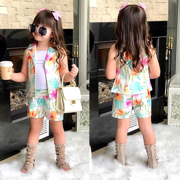 Gedruckt Kinder 3er Set Blazer + Weste + kurze Hosen Mädchen ärmellose Sets Mode niedlichen Kinder Mädchen Anzüge