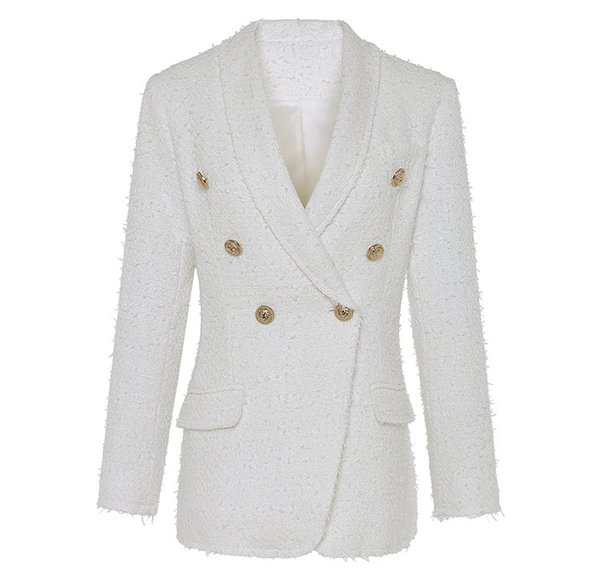 Spring Antumn Outerwear Women's Suits Lion Head Golden Button Double-breasted White Blazers