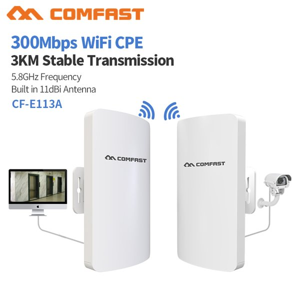 2pcs 3KM 5.8Ghz High Power 300Mbps Outdoor Weatherproof CPE/Wifi Extender/Access Point/Router/11dbi Directional antenna Bridge