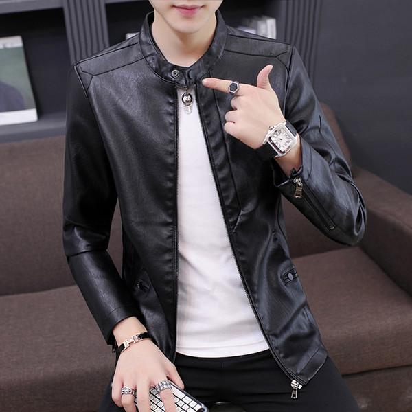 Outono e inverno no revestimento de couro Coreano de estilo New HOMENS DO Estilo Slim Fit Juventude Moda Fique Collar PU Brasão MEN jaqueta de couro de