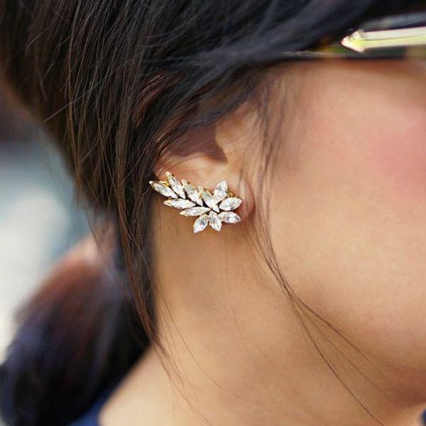 Feather Crystal Ear Cuff Earrings 2015 Vintage Clip On Earrings For Women Earcuff Cute Street Jewelry Wholesale