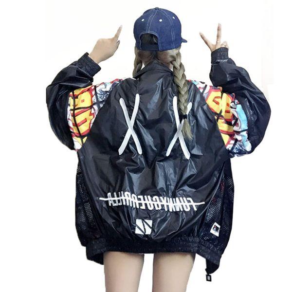 Graffiti Baseball Coat Harajuku Net Yarn Splice Cardigan Letters embroidered sun protection Zipper Jacket sunscreen Tops Spring
