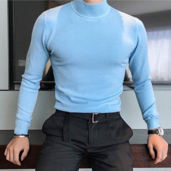 2019 de haute qualité en cachemire d'hiver chaud épais chandail hommes Pulls à col roulé Hommes Slim Fit Pull col Homme Maille Double SH190916