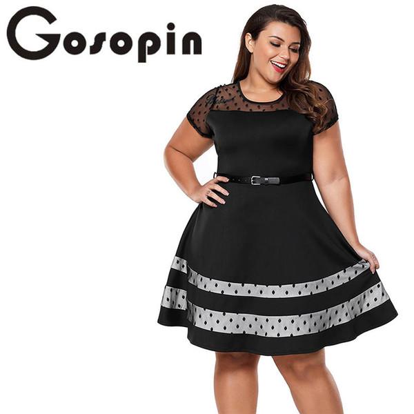 Gosopin Plus Size Vestido Do Escritório Do Vintage Senhoras Sexy New Fashion Summer Dress Com Cinto Patchwork Europeu Vestidos de Festa Lc61970 Y190515