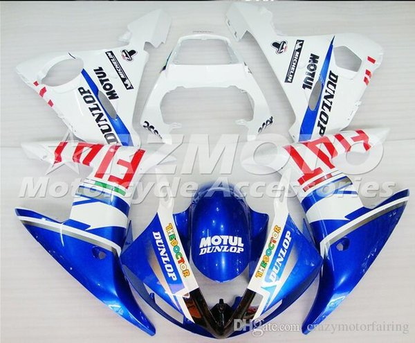 3 gifts New Injection ABS Fairing kits 100% Fit for YAMAHA YZFR6 03-04 YZF R6 2003-2004 YZF600 bodywork color Blue White B29