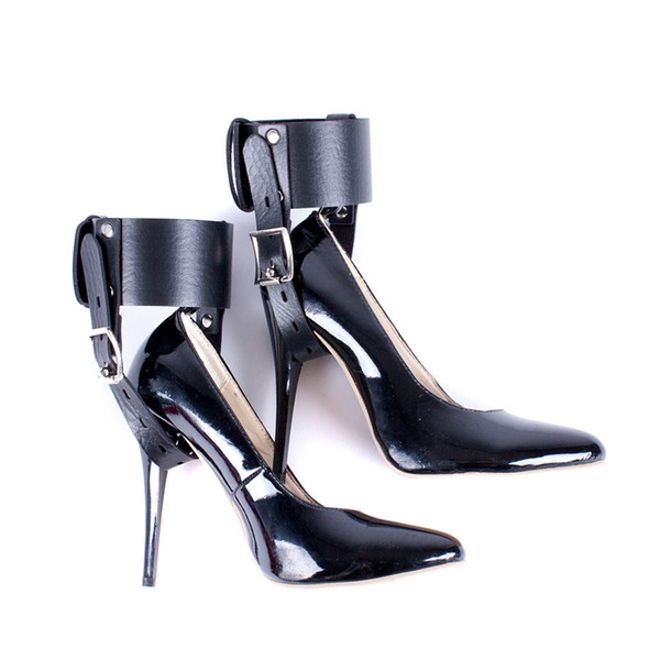 High Heeled Shoes Locking Belt Bdsm Bondage Restraint Gear Adult Toys PU Leather Foot Accessories Female Fetish Kit for Couples