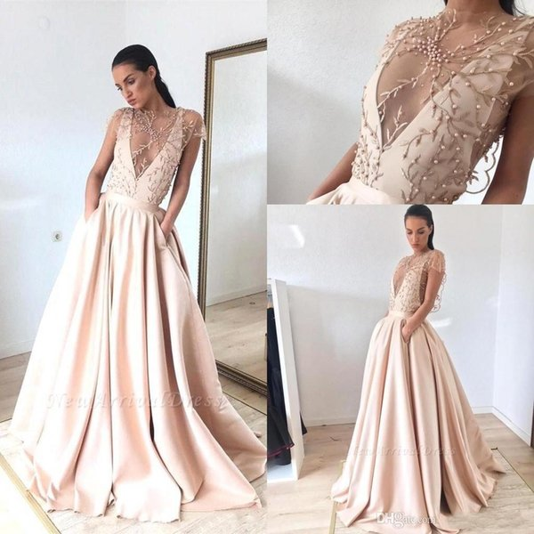 2019 Elegant Cap Sleeves Satin A Line Long Prom Dresses Lace Applique Beaded Top Ruched Floor Length Formal Party Evening Dresses