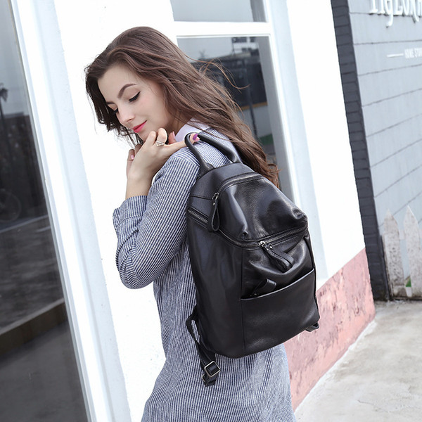 Distinctive2019 Sheepskin Layer Head Genuine Leather Both Shoulders Concise Neutral Black Ma'am Travel Backpack A Bag Leisure Time Package