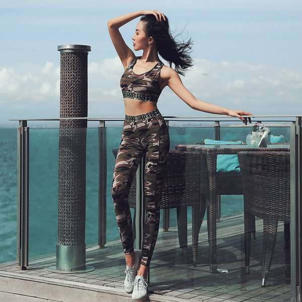 Female Sexy Breathable Camouflage Print Yoga Sets Sports Fitness Wear For Sport Set Gym Women Yoga Clothing Patchwork 2 pcs set