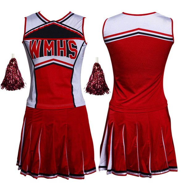 Mulheres Sexy High School Glee Cheerleader Costume Set Cheer Meninas Uniforme Cheerleading Outfit Top + Saia + Pompom