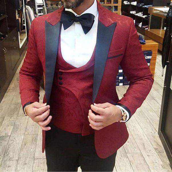 Summer 2019 New Burgundy Mens Suits 3 Pieces Slim Fit Groom Tuxedos For Man Wedding Suits Formal Office Blazer(Jacket+Vest+Pants)