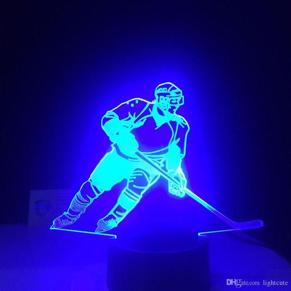 Lampe Cadeaux Acheter LED Cadeaux Joueur Visuels Sport Enfants De Chevet Pour Glace 3D Lumières Nuit Bébé Table Hockey USB Luminaria De Sur Couchage n0PXw8Ok