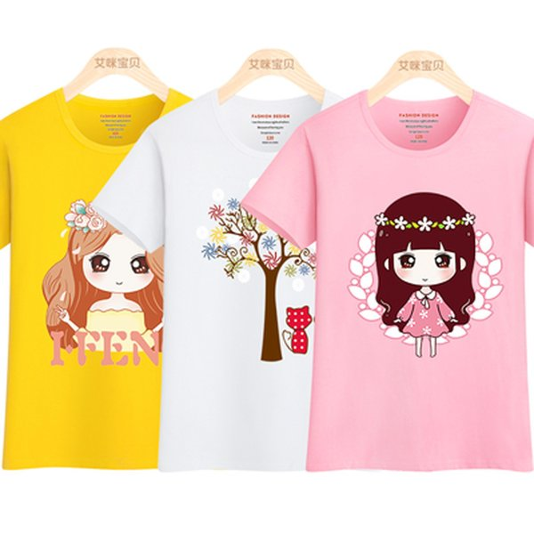 New Summer Children Girls T-shirts 2019 Kids Cotton Short Sleeve Tees Casual Cartoon Tshirts For Girls Students Tops 100-165 Y19051003