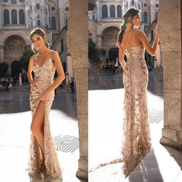 Elie Saab 2019 Prom Dresses Sexy Spaghetti-Trägern Sleeveless Backless Abendgarderobe nach Maß Partykleider für besondere Anlässe