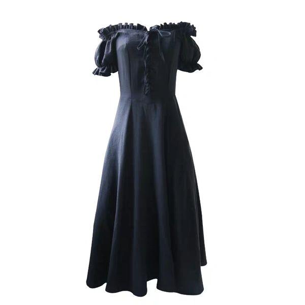 Spring and summer French vintage black dress short-sleeved orange-blossom skirt thin in the long bottom skirt temperament girl