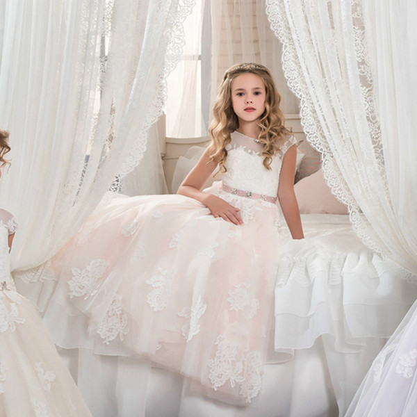 Lace Ball Gown Flower Girls Dresses For Wedding TUTU Girl's First Communion Dresses Party Birthday Dress Children Girl Pageant Gown 183