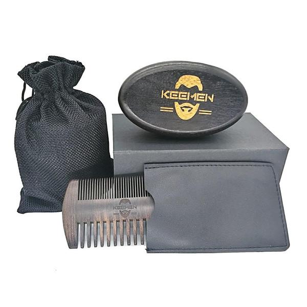 100pcs personnalisé votre LOGO fine dents grossières ébène Blackwood peignes peignes à cheveux poils de sanglier brosse à barbe en bois noir dans une boîte cadeau sac
