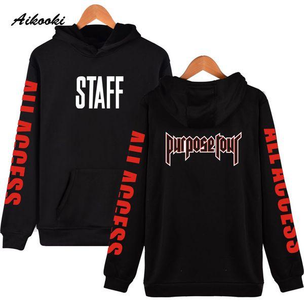 Autumn Winter Justin Bieber STAFF New Style Cap Hoodies Fashion Women Men Clothes Hooded Sweatshirts Unisex Hoodies Clothes