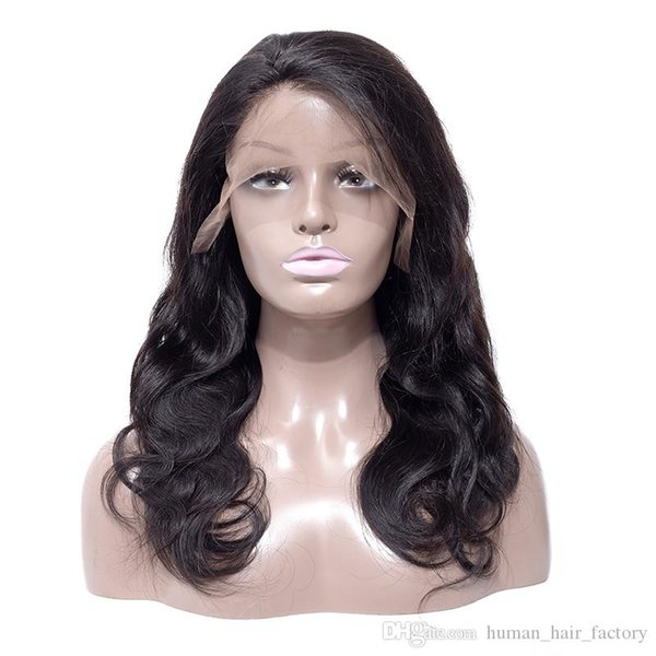 High quality manufacturer glueless 100% unprocessed remy virgin human hair long natural color body wave full lace cap wig for women