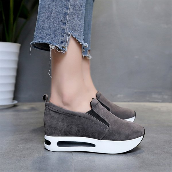 bd8248d90624 Shoes COOTELILI Women Platform Wedge Pumps Middle Heels Faux Suede Sneakers  Round Toe Slip-On Casual Woman Oxfords Plus Size 40