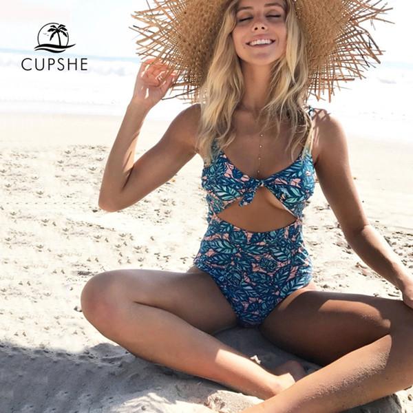 Compre Cupshe Exuberantes Hojas De Impresión De Una Sola Pieza Traje De Baño De Las Mujeres Con Cuello En V Acolchado Monokini 2019 New Girl Beach