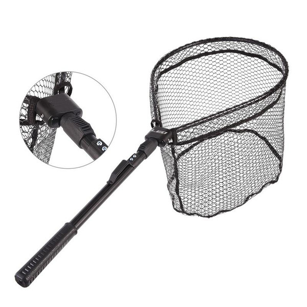 Pliable Filet de poisson en alliage d'aluminium à la main Mesh LEO Fly Filets de pêche poignée en caoutchouc noir Portable chaud ventes 31lo C1