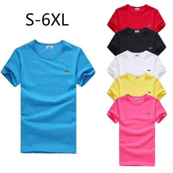 S-6XL Plus-tamanho T Shirt Designer de Marca Das Mulheres Dos Homens de Manga Curta T Shirt Verão Crocodilo Bordado Mens Tees Casual Blusa Tops