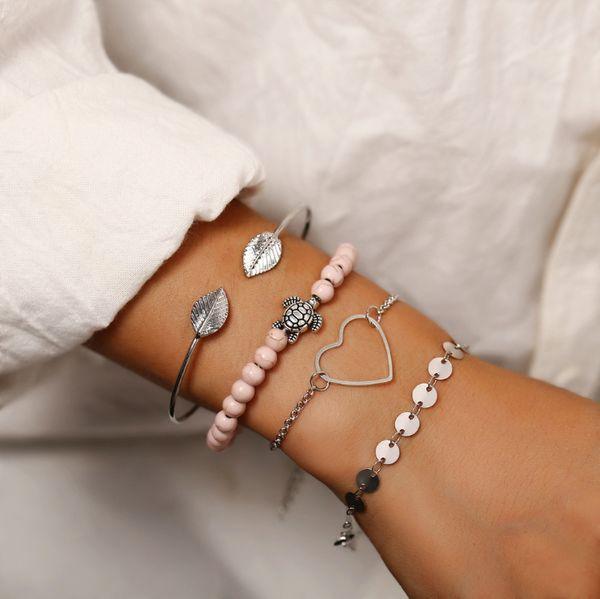 Vintage Retro Fashion Jewelry Accessorines Sequin Hearts Tortoise Leaf Beads Warp Chains Charm Multilayer Bracelets For Women 4 Pieces a set