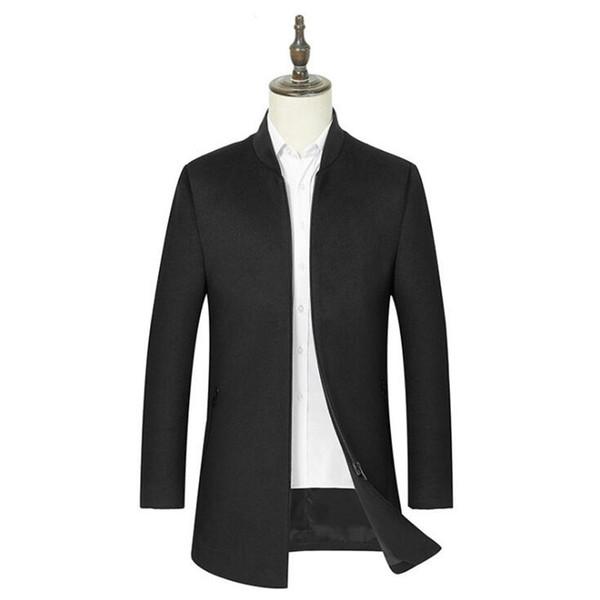 Mens Wool Coats 2019 Men Winter Thick Warm Wool Coat Men Clothes Slim Fit Coat Mandarin Collar Jacket Mens Overcoat
