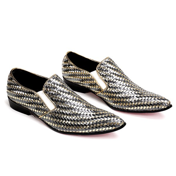 2019 handmade Woven formal mens dress shoes genuine leather luxury gold color wedding shoes men flats office for male