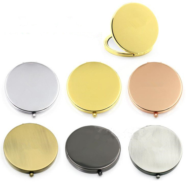Portable Pocket Mini Makeup Mirror Ladies Girls Hand Cosmetic Mirror Stainless Fashion Double-Side Folde Compact Mirrors F2502