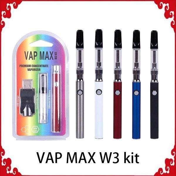 Оригинальный комплект Vap Max W3 350 мАч Разогрев Vertex VV Батарея переменного напряжения 0,5 / 1,0 мл 510 Емкости для стеклянных картриджей Зарядное устройство USB Vape 01