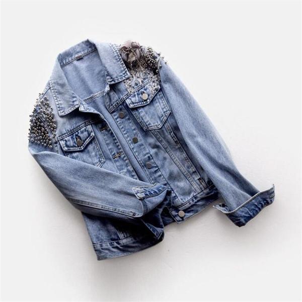 2019 spring autumn Women denim jacket female fashion beaded embroidery Jeans jacket women basic jacket outwear