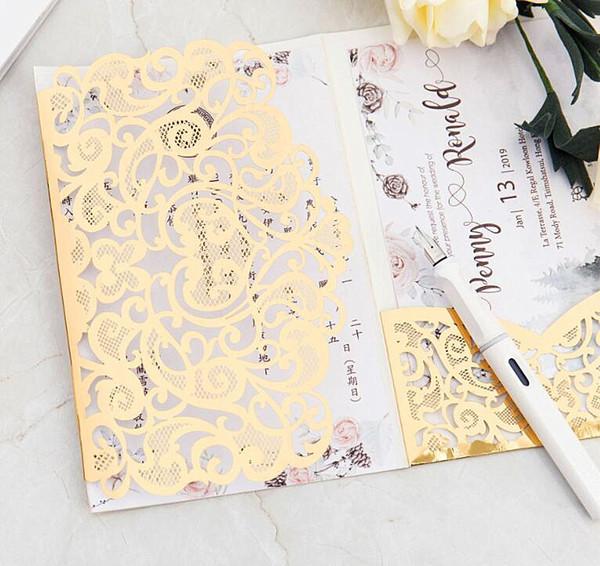 Greeting Cards Wedding Laser Cut Pocket Wedding Invitations Flower Customized Marriage Birthday Invitation Cardno Inner No Envelope Wedding