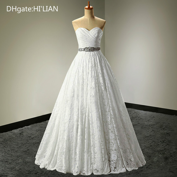 A-line Sweetheart Plus Size Real Photo Lace Princess Beading Wedding Dresses Ball Gown Sashes Bridal Gown Formal Occasion Custom