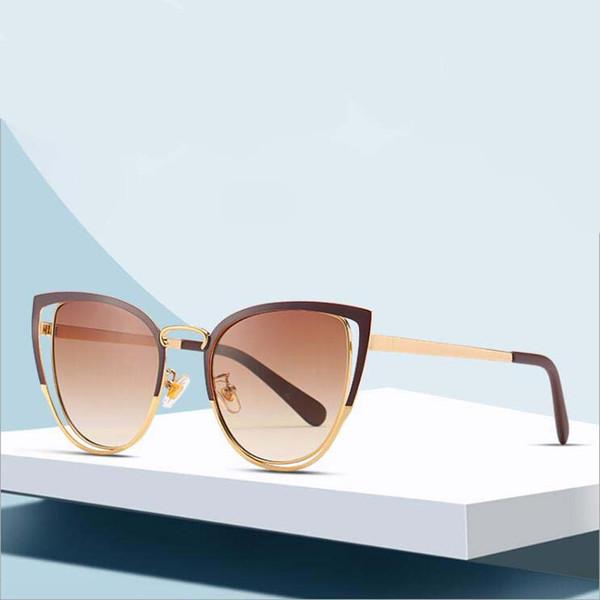 Marke Katzenaugen-Sonnenbrille Frauen Metallweinlese-Sonnenbrille weiblich Retro-Beschichtung Spiegel-Gläser Flat Panel Objektiv