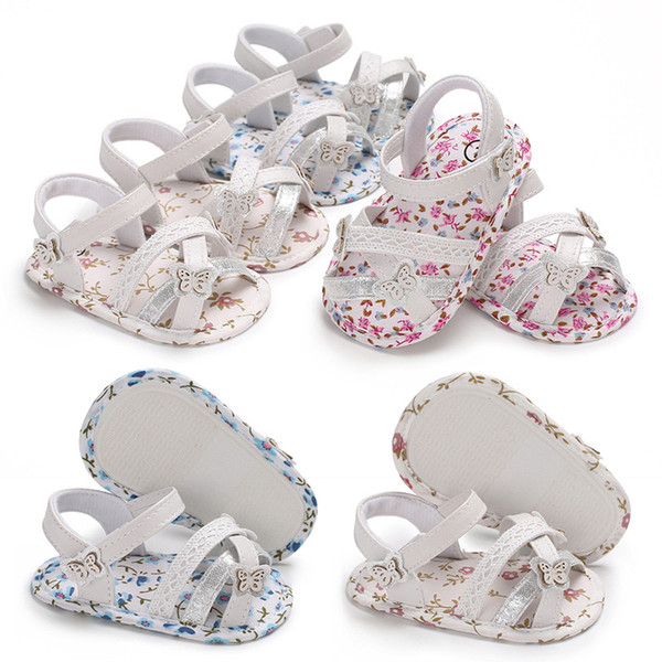 2019 summer 0-1 girl baby shoes silicone non-slip flower cloth bottom breathable hollow baby toddler shoes