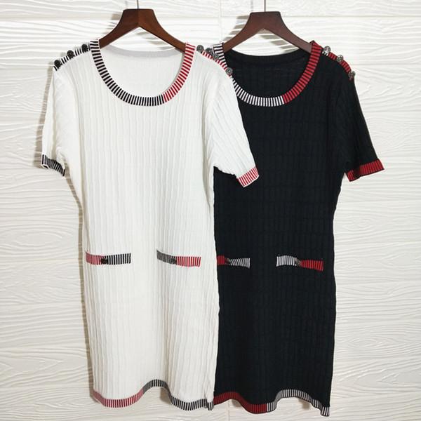 Toptan S-L CH marka tasarımcısı Elbise bayanlar 2019 Ekip Boyun kısa kollu casual elbise Bayan Güz Ve Kış katı Kazak Elbise giyim