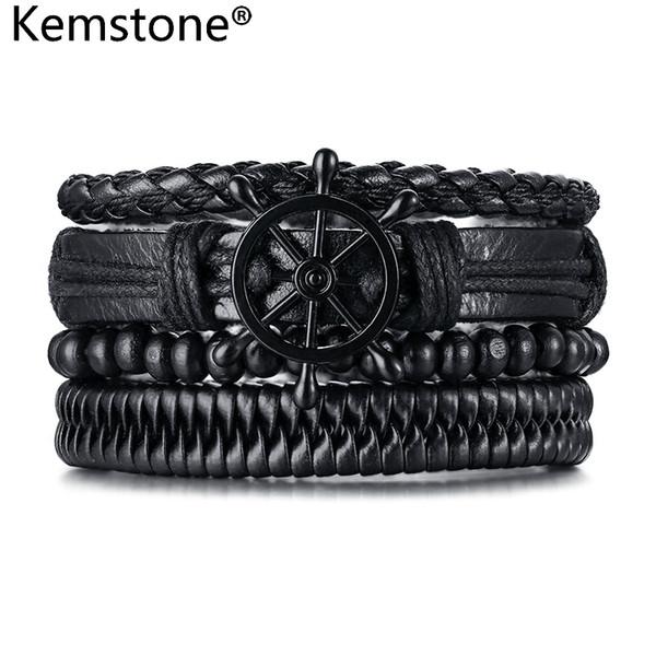 Kemstone Retro Nero / Marrone Perline di legno PU Bracciale in lega di uomini timone avvolgere gioielli regalo