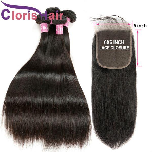 Peruvian Virgin Hair 3 Bundles With Closure Unprocessed Human Hair 6x6 Swiss Lace Top Closures With Silk Straight Hair Weaves 4pcs Deals