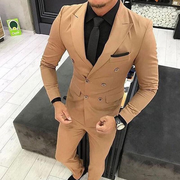 Marca New Double Breasted Luz Marrom Noivo Smoking Pico Lapela Ternos Dos Homens de Casamento / Prom / Jantar Melhor Homem Blazer (Jacket + Calças)