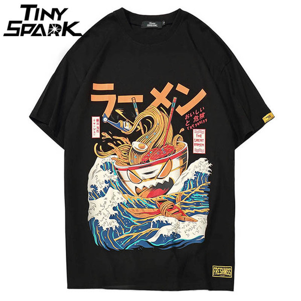 Japanese Harajuku T-shirt Men 2018 Summer Hip Hop T Shirts Noodle Ship Cartoon Streetwear Tshirts Short Sleeve Casual Top Cotton Q190421