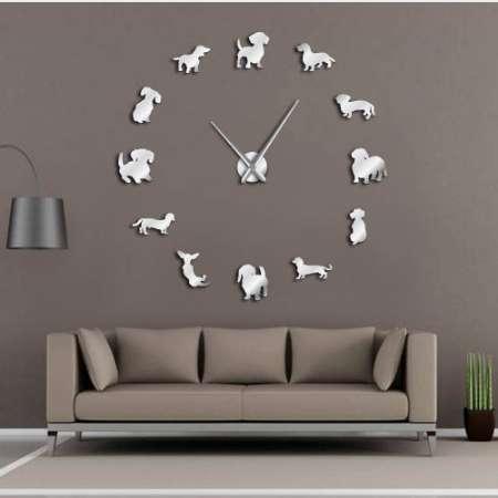 DIY Dackel Wandkunst Wiener-Hund Welpen Hund Haustier Frameless Giant Wanduhr Mit Spiegeleffekt Wurst Hund Große Uhr Wanduhr