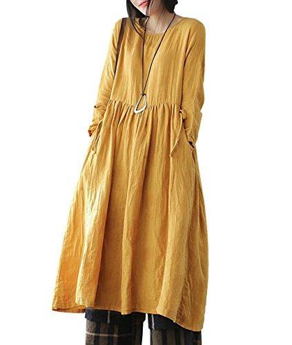 YESNO Y47 Mulheres Long Loose Maxi Vestido 'A' Saia Artesanato Bordado Assimétrica Hemline Bolso